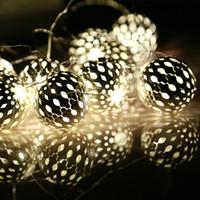 Wholesale Led Sphere Christmas - Wholesale-Festival lighting 20 LED lamp string battery box silver metal sphere lighting Christmas lights festival decoration lamp