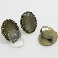 Wholesale alloy antique rings adjustable - Sweet Bell Min Order 8 sets Antique Bronze Alloy Adjustable 24*31mm (Fit 18*25mm Dia) Cabochon Settings + Cabochon Glass 0671