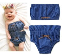 Wholesale Tank Top Hot Girl - 2017 INS hot baby girl kids toddler Summer cute 2piece set Denim tanks tops shirts vest tube + shorts pants bloomers diaper covers Bow Cute