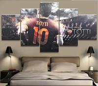 fußball wand leinwand großhandel-5 Panel Totti AS Roma Serie A Leinwand Gedruckt Malerei Für Wohnzimmer Bild Wandkunst HD Print Decor Moderne Kunstwerke Fußball Poster