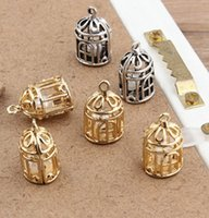 Wholesale bird cage charms resale online - 20PCS Gold silver plated bird cage charm pendant x20mm jewelry findings