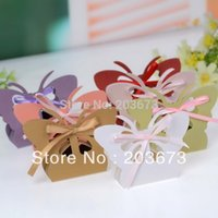Wholesale Pearl Candy Favors - Wholesale-Laser Cut Butterfly Wedding Favors Gifts Candy Boxes Pearl Paper Wedding Chocolate Boxes 7Color Optional 12pcs
