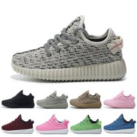 Wholesale Gray Toddler Boots - breathable kids West 350 Boost sneakers baby Boots Shoes Lace-Up Running Sports Shoes booties toddler shoes fashion Training C010
