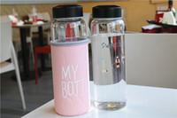 Wholesale Glass Bottle Large Capacity - Practical High Borosilicate Glass Bottle 420mL Transparent Glass Cup Large Capacity Water Bottles Fashion Letter Pattern
