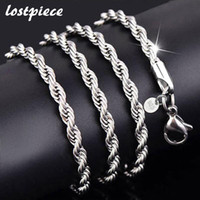 Vente en gros- Perforté 2017 Fashion Men's 925 Sterling Silver Necklace Twisted Chain 4mm 16-24