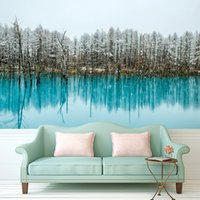 Wholesale Modern Paintings Large Size - Wall Painting Custom Any Size Large Wallpaper for Living Room Lake water with Pine Trees Art Photography Europe Mural Home Decor