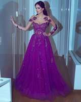 Wholesale modest evening gowns for women - Modest Women Formal Evening Dresses with Illusion Long Sleeve Purple Tulle Lace Sequins Sheer Neck 2017 Prom Gowns Dress for Pageant Party