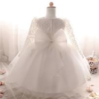 bebekler kızlar beyaz top elbiseler toptan satış-Toptan Satış - Kız Kış Uzun Elbise Beyaz Vaftiz Elbiseler Bebek Kız 1 Yıl Doğum Günü Kız Bebek Kız Dantel Vaftiz Balo Elbisesi