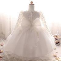 3e0c6a7b1cc13 Vente en gros-robe d hiver pour fille à manches longues robes de baptême  blanc bébé fille 1 an d anniversaire porter Toddler fille dentelle robe de  bal de ...