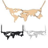 Wholesale silver necklaces online - World Atlas World Map Necklace Pendant Silver Rose Gold Black Pendants Choker for Women Fashion Jewelry Will and Sandy Drop SHip
