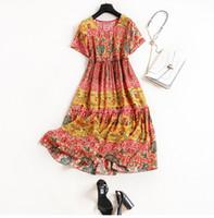 Wholesale Silk Bohemia - 2017 Bohemia Silk Crew Neck Fashion Print Spring Summer Mid-Calf Short Sleeves Lady Dresses Women One Piece Dress M31