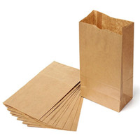 Wholesale Boutiques Paper Bags - 500 pcs lot Brown Kraft Paper Gift Bags Wedding Candy Packaging Recyclable Food Bread Shopping Party Bags For Boutique 4#