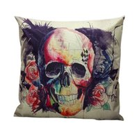 Wholesale Hotel Brand Pillows - Wholesale- 2017 Halloween Supply Skull Pillow Case Christmas Cover Waist Throw 100% Brand New Designs Free Shipping , Aug 25