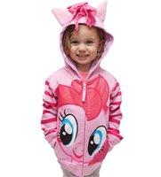 Wholesale Small Ears Cartoons - Children sweatshirt Girls cotton Cartoon small horse wings tops Kids tassel horse ears hooded zipper outwears Girls fashion clothes C1578