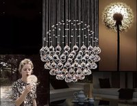 Wholesale stainless wire balls for sale - Group buy New Modern LED Ball K9 Crystal Chandeliers Fashionable Design Lamps Luxury Bulb Lights Hanging Wire Hotel Lighting LLFA
