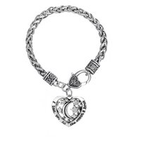 Wholesale Locking Love Bracelet Silver - comejewelry Letter the moon lock and I love you to Heart Pendants Elegant Rhodium Plated For Gift Link Chain Statement Bracelet