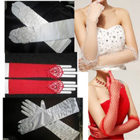 Wholesale Sexy Brides Gloves - Hot Selling New Sexy Wedding Bride Gloves Full Finger Fingerless Below Elbow Length Bridal Accessories White Red Lace Embroidery Gloves