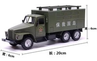 Wholesale Army Toy Trucks - Military box-type truck Field Army back car alloy model children's toy car army children's educational toys