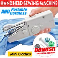 costura de ropa al por mayor-Ropa de mano de mano portátil portátil inalámbrico mini máquina de coser puntada Inicio