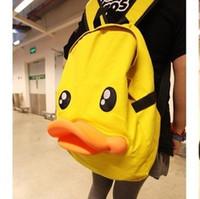 Wholesale Duck Backpacks - WL Personality Cute Women's Duck 3-D Kids Teenage SchoolBag Canvas Backpack Travel Satchel Bag