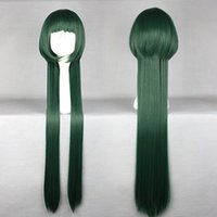 MCOSER Sweep the World de haute qualité synthétique Reborn Yuni Style Dark Green Long Straight Cosplay Wig Livraison gratuite