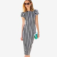 Wholesale pencil skirts dresses office - New Striped Bodycon Dress Round Neck Short Sleeve Sheath Dress Ladies Pencil Skirt Ladies Office Work Dresses ZSJG1104