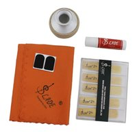 Wholesale reeds for sax - Wholesale- LADE 5-in-1 Soprano Saxophone Sax Accessories Kit Aluminum Alloy Mute Mouthpiece Patch Bamboo Reed Cleaning Cloth Cork Grease