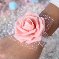 Wholesale Images Decoration Wedding - Bride Bridesmaid Wrist Flowers Real Image Cheap Pink Cheap Wedding Supplies Ribbon Flower for Wedding Decoration Accessories