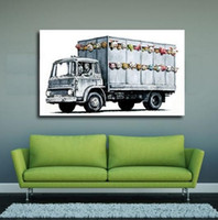 Wholesale car art oil paintings resale online - Framed Pure Handpainted Graffiti Art oil painting Car Home Wall Art Decro On High Quality Thick Canvas Multi sizes