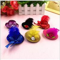 kadınlar büyüleyici şapkalar toptan satış-5 cm Mix Renk Katı Keçe Mini Üst Şapka Saç Şapka Klip Fascinator bankası Kadın Kız Tuhafiye Parti Şapka 30 adet / grup
