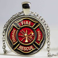 Wholesale Firefighter Jewelry Pendants - Hot Handmade Necklace for Firefighter Fashion Long Chain Firfighter Glass Pendant Necklace Classic Jewelry Gift