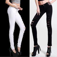 Wholesale Europe Size 32 - Wholesale- Europe and America Retro Pencil Feet White Black Trousers Pants Women's hole Jeans plus size 26-32 Waistline