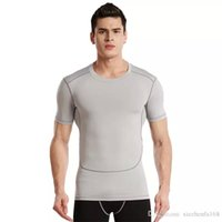 Wholesale Quick Shapes - Spring bursts of short-sleeved training fast-drying body running clothes men's fitness shaping shirt