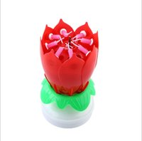 Wholesale Candle Happy Birthday - 2017 New Musical Double rotating lotus candle Happy Birthday Party Gift Candle Lights 6Color