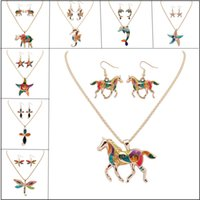 Hot Enamel Starfish Elephant Dolphin Animal Charm Necklace Earring Sets Collar de mujer 14K Gold Plated Colorful Drip Resin Paint Colgante