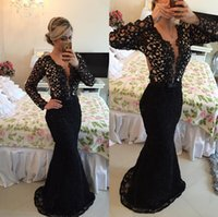 Wholesale Long Sleeved Dresses For Prom - 2017 Black Evening Gowns Long Sleeved Sexy Lace Mermaid Prom Dresses Illusion Back Special Occasion Dress For Women Vestido Sereia Longo