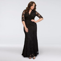 Wholesale Dresses Sirens - NEW! Screen Siren V-Neck Lace Plus Size Gown 13130902 Black Half Sleeves Sexy Mother of the Bridal Dres Wedding Party Dress Formal Dresses
