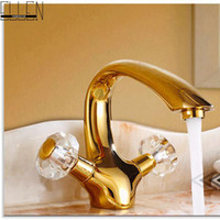Wholesale Crystal Gold Bathroom Taps - Wholesale- Luxury crystal brass gold bathroom basin sink deck mounted dual handle hot and cold water mix tap