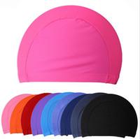 ücretsiz yüzme kapağı toptan satış-Kumaş Kulakları Uzun Saç Korumak Spor Yüzmek Havuzu Yüzme Kap Şapka Yetişkin Erkekler Kadınlar Sportif Ultrathin Yetişkin Banyo Kapakları Ücretsiz Boyutu