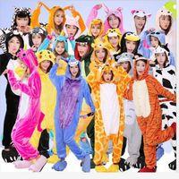 Wholesale Owl Sleepwear - Flannel Cartoon Animal Pajamas Jumpsuit Unicorn Bear Stitch Dinosaur Zebra Panda Owl Tigger Pikachu Rabbit Cosplay Sleepwear 50pcs LJJO3137