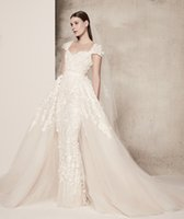 Wholesale Elie Saab Long Sweetheart Dress - datchable train 3D floras appliques beaded wedding dresses 2018 elie saab bridal gowns cape sleeves sweetheart neckline wedding gowns