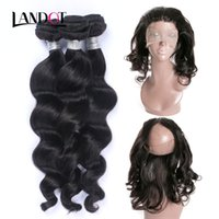 Wholesale Malaysian Hai - 360 Full Lace Frontal Closures With 3 Bundles Brazilian Loose Wave Virgin Hair Weave 8A Peruvian Indian Malaysian Loose Curly Remy Human Hai