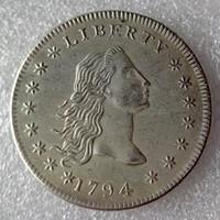 pirinç kenarlı toptan satış-Amerika birleşik Devletleri Paraları 1794 Akan Saç Pirinç Gümüş Kaplama Dolar Pürüzsüz kenar Kopya Para