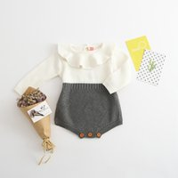 Wholesale Infant Girl Ruffle Rompers - NEW 2017 Baby Rompers Autumn spring Toddler Baby Girl And Boys Clothings Ruffles Princess Girl Sweet Knitted Overalls Infant Romper