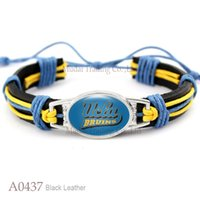 Wholesale Eagle Leather Bracelet - Wholesale- (New Fashion) UCLA Bruins Coppin State Eagles djustable Leather Cuff Bracelet for Athletic Team Mens Sports Wristband Blue Gold