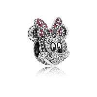 Wholesale Pandora Sparkle Beads - 1:1 Replica Sparkling Minnie Portrait Charm 925 Silver Beads Fit For Pandora Bracelets 791796NCK