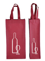Wholesale Wholesale Wine Bags Fabric - Portable Non-woven Fabric Red Wine Storage Bag For One Double Bottles Wine Package Gift Party Handbags