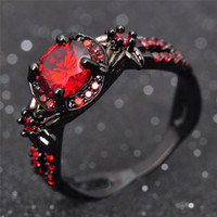 Wholesale Romance Jewelry - Women Black Gold Filled Red&Purple Stone Wedding Ring Female 2 Color Clear CZ Vintage Romance Wedding Engagement Jewelry Bijoux