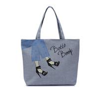 Wholesale Canvas Shoe Bags Wholesale - Wholesale- Female Canvas Cotton Bags   One Shoulder Vintage Portable High-heeled Shoes Pattern Cloth Canvas Bags Woman Handbags 2016