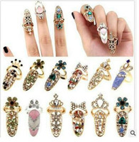 Wholesale Wholesale Accessories China 18k - Delicate diamond-encrusted fingernail set tail ring joint ring crown armor accessories you will love it shipping free